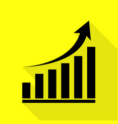 growing graph sign black icon with flat style vector image