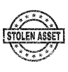 Grunge textured stolen asset stamp seal vector
