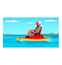 Happy man and woman couple riding foot pedal boat vector