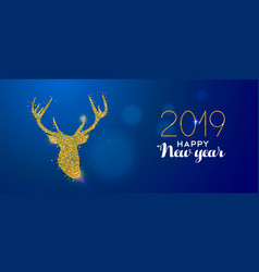 happy new year 2019 gold glitter reindeer card vector image