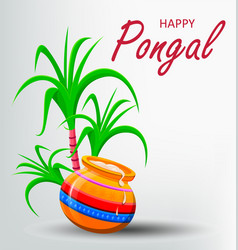 Happy pongal greeting card on white background vector