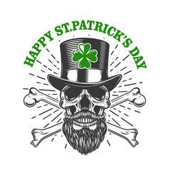Happy saint patrick day irish leprechaun skull vector