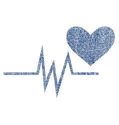 heart pulse signal fabric textured icon vector image