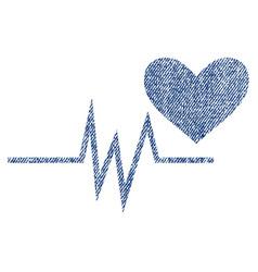 Heart pulse signal fabric textured icon vector