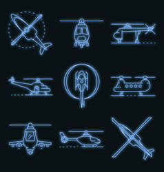 helicopter icons set neon vector image