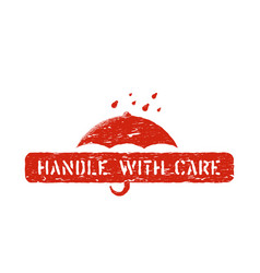 inky red handle with care box sign isolated for vector image