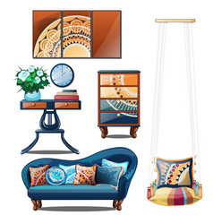 Interior with colorful ornaments isolated on a vector