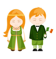 Irish girl and boy in national costume irish vector