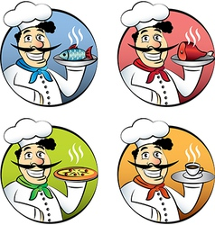 Italian cartoon chef vector