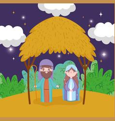 Joseph and mary nativity happy merry christmas vector