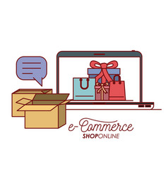 laptop with wallpaper inside of set gift and bag vector image