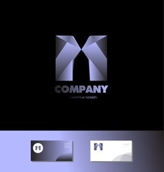Letter M 3d blue metal logo vector image