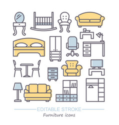 line furniture icons set with vector image