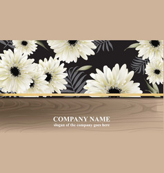 Luxury business card with gerber daisy flowers vector