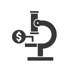 microscope and money economic analysis icon vector image