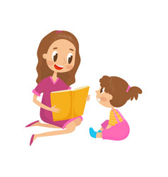 mom reading a book to her little daughter family vector image