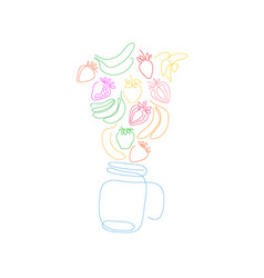 One line glass cup with bananas and strawberries vector