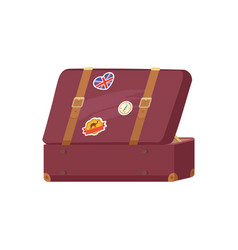 open leather vintage suitcase decorative memories vector image