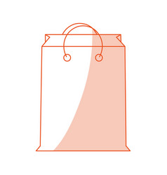 Orange shading silhouette cartoon bag for shopping vector