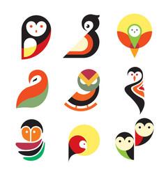 Owl logo icon design set vector