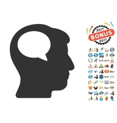 Person Thinking Icon With 2017 Year Bonus Symbols vector
