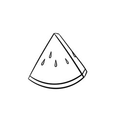 piece of watermelon hand drawn sketch icon vector image