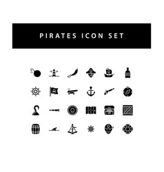 pirate icon set with black color glyph style vector image
