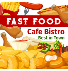 Poster or menu for fast food cafe bistro vector