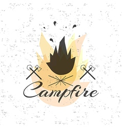 Print on t shirt design theme of the campfire vector