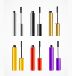 realistic color mascara brush set vector image