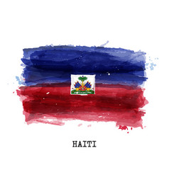 Realistic watercolor painting flag haiti vector