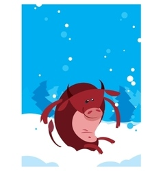 Red ox bull whit winter background vector