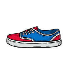 red sneakers and ink spots vector image
