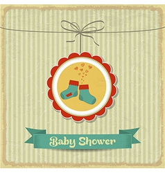 retro baby shower card with little socks vector image vector image