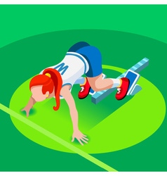 Running Starting Blocks Teen Marathon 3D Isometric vector