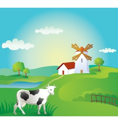 Rural landscape with cow vector image