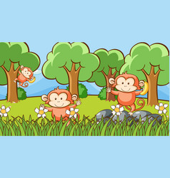 Scene with three monkeys in forest vector