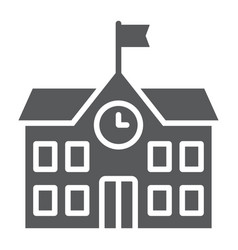 School building glyph icon school and education vector