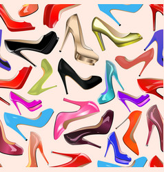 seamless background fashionable womens shoes vector image