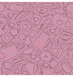 Seamless pattern with crockery and cutlery vector
