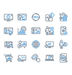 seo line icons set of increase sales business vector image
