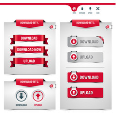 set download and upload buttons vector image