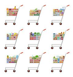 set food carts supermarket vector image