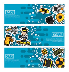 set horizontal banners about taxi vector image