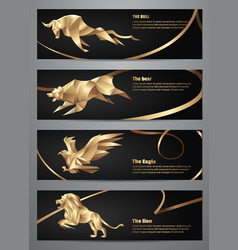 Set of gold animal banners vector