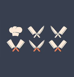 set restaurant knives icons vector image