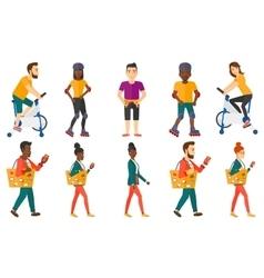 Set sport characters vector