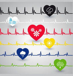 several heartbeat lines vector image