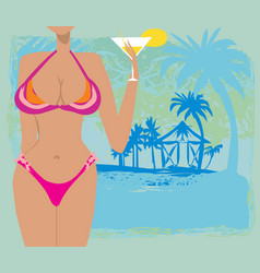 sexy beach girl frame vector image