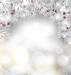 silver christmas tree branches and berries vector image